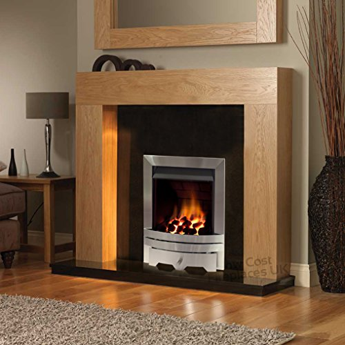 """Gas Oak Surround Black Granite Stainless Steel Silver Coal Flame Fire Modern Fireplace Suite - 48"""""""