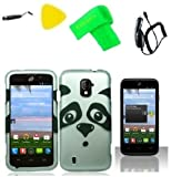 Panda Phone Case Cover Cell Phone Accessory + Yellow Pry Tool + Stylus Pen + Screen Protector + Car Charger + EXTREME Band for ZTE Majesty Z796c / ZTE Source N9511