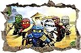 ARTWALL WANDAUFKLEBER Loch in der Wand Legos Ninjago Wand Aufkleber Wandtattoo 81 (XXL - 115 x 75 cm)