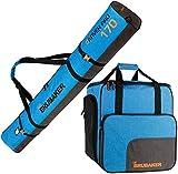 BRUBAKER Conjunto Carver Performance - Bolsa para Botas y Casco de ski Junto para 1 par de esquís + Bastones + Botas + Casco - Azul Negro - 170 cm