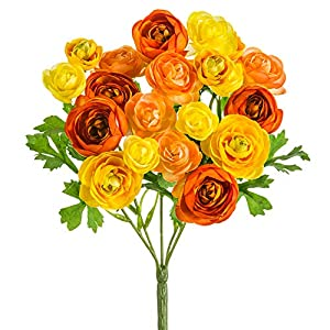 SilksAreForever 10.5″ Silk Mini Ranunculus Flower Bush -Orange/Yellow (Pack of 12)