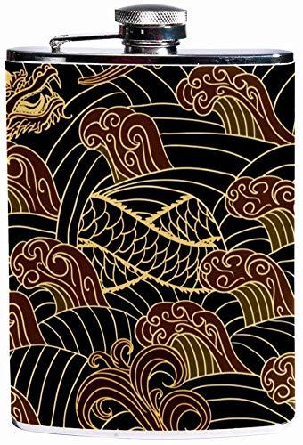 Auslaufsicherer Spirituosen-Flachmann 7,6 Unzen Flagon Mug Lederbezug mit orientalischem, traditionellem Seaml-Muster-Taschenbehälter für diskreten Schnaps