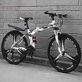 LYhomesick Bicicleta Plegable Adulto Rueda De 26 Pulgadas Los Frenos De Disco Dobles Son Más Seguros De Manejar Adecuado para Viajes Cortos,Negro,21 * 26''*6