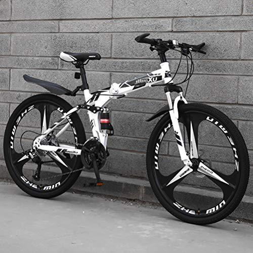 """ZEIYUQI Bicicleta Todoterreno Plegable Bicicletas 24 Pulgadas Freno De Disco Doble Bicicletas Adulto Unisex,Negro,27 * 24""""*3"""