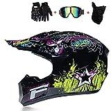 HUOFEIKE Casco de motocross de cara completa, casco Mx ATV, placa de ajuste de ventilación, mantiene la cabeza fresca y cómoda para hombres y mujeres, negro, X-Large