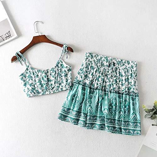 TSP Vestido floral de 2 piezas para mujer con estampado floral verde, con correas plisadas, mini vestido bohemio, playa gitana vestido de mujer 2021 (color: azul cielo, tamaño: L)