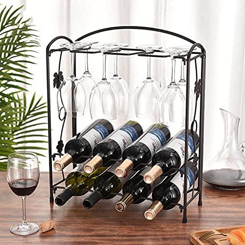 SUHETI Estante para Botellas de Vino, 8 Botellas, Metal Soporte para Botellas de Vino, Organizador de Almacenamiento de Vino, 2 Estantes de Exhibición de Vino,Matte Bronze