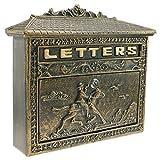 PrimeMatik - Buzón Antiguo de Hierro colado para Cartas y Correo Postal de Color óxido Caballo
