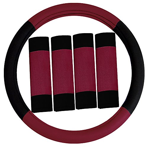 FH Group FH2033BURGUNDY Steering Wheel Cover (Modernistic and Seat Belt Pads Combo Set Burgundy)