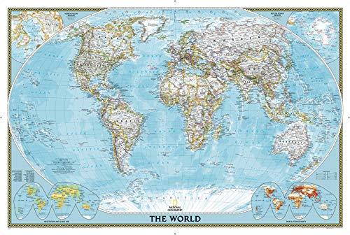 National Geographic World Klassische politische Wandkarte, 91 x 61 cm, Kunstdruck