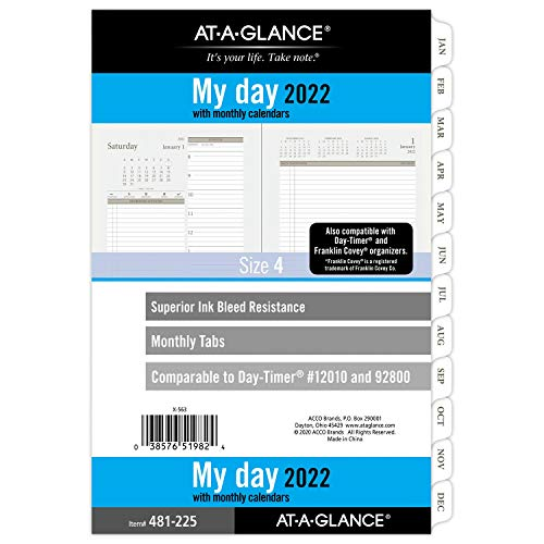 """2022 Daily Planner Refill by AT-A-GLANCE, 5-1/2"""" x 8-1/2"""", 12010 Day-Timer, Size 4, Desk Size, Two Page per Day, Loose-Leaf (481-225)"""