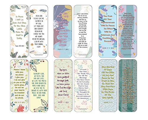 NewEights Popular Prayers and Bible Scripture About Peace Bookmarks (30-Pack) – Daily Encouragement Prayer Verse Card Set – Book Page Clippers – Ideal for Church Gathering Events Give-aways