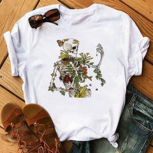 VIQNJ Camiseta de Las Mujeres de Turbante Rojo Calavera Moda Camiseta de Verano gráfico Negro Camiseta Top Damas Estampado de Mujer camiseta-32_S