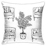 pingshang Furniture Butacas Flower Pot iti Funda de almohada, impresión de doble cara, funda de almohada con cremallera oculta, 45,7 cm