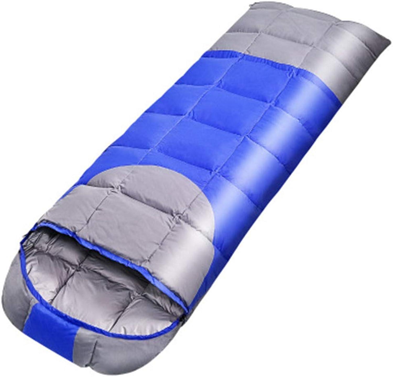 Qys Daunenschlafsack Vier Jahreszeiten Individuell Ultraleicht Warm Bleiben Schmutzig Wasserdicht Zwei-Wege-Reiverschluss Mit Komprimierte Aufbewahrungstasche,Blau,1.8Kg