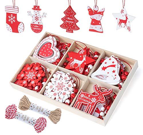 Adorfine 36 Stück Holz Christbaumschmuck Rot Weiß Weihnachtsanhänger Weihnachten Muster Christbaumanhänger Holz Weihnachtsbaumschmuck Anhänger für Weihnachtskalender Verzierung Deko