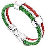 MunkiMix Alliage Cuir Bracelet Bracelet Menotte Ton d'argent Vert Blanc Rouge Italie Italien Drapeau Homme,Femme