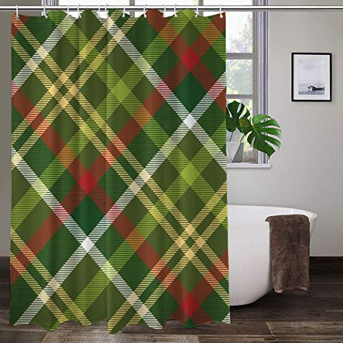 Duschvorhang mit grünem Schottenkaro, Weihnachtsmotiv, bunt, Polyester, mit Haken, 152,4 x 182,9 cm (B x H)
