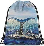 Borsa da palestra Whale Tail Ocean Seascape impermeabile con coulisse, unisex, leggera e resistente, grande capacità, zaino per sport, viaggi, escursionismo, campeggio