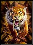 Diy Pintura Al leo Por Nmeros Tigre Dientes De Sable Nios Manualidades Pintura Al leo Sobre Lienzo Regalo Para Pintar Decoracin Para El Hogar.40X50Cm(Sin Marco)
