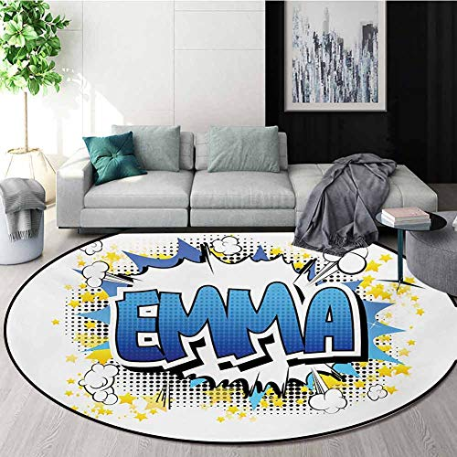 Review Of RUGSMAT Emma Round Area Rug,Youthful Energetic Name Design for Teenage Girls Cartoon Stars...