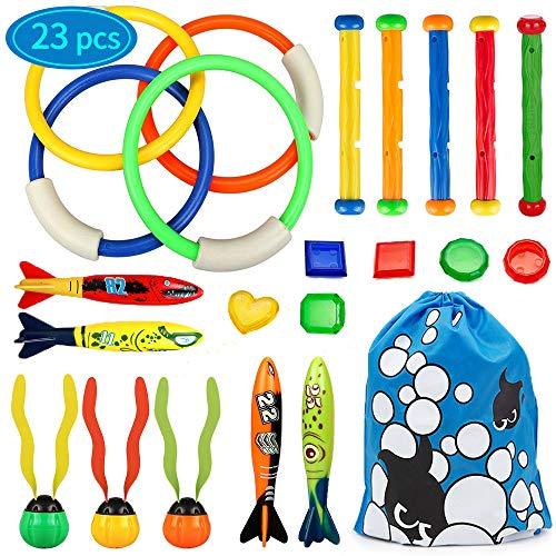 SPECOOL 23Stück Tauchen Spielzeug,5Stk Tauchstöcke/4Stk Tauchringe/4Stk Torpedos Banditen/6Stk Tauch Edelsteine/3Stk Tauchalgen Unterwasser Schwimmbad Spielzeug Tauchspiel für Kinder Jungen Mädchen