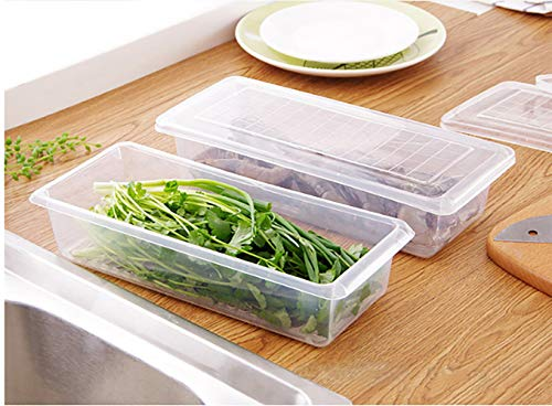 MosQuick®- Set of 2 Food Storage Container with Removable Drain Plate and Lid, Stackable Freezer Storage Containers Keep Fresh for Storing Fruits,Vegetables, Meat,Fish etc and More