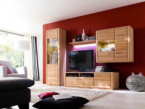 lifestyle4living Wohnwand, Wohnzimmerschrank, Anbauwand, Schrankwand, Fernsehwand, Wohnzimmerschrankwand, Wohnschrank, Kernbuche, massiv, Vitrine, Glas