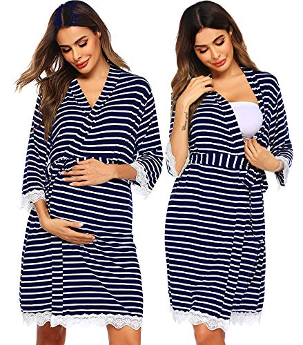 Ekouaer Sleepwear for Women Lightweight Bathrobes Lace Trim Half Long Sleeve Striped Robe Pregnancy Nightwear Navy XL