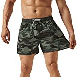 MaaMgic 80s 90s 4 Way Stretch Mens Swim Trunks Camo Quick Dry Boardshorts Swimwear with Mesh Lining/Pockets