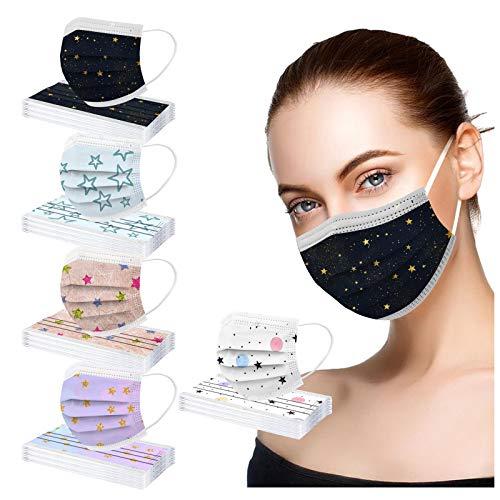 YpingLonk 50 unid Unisex Adulto Cara Protector Mujeres Universal 3 Capa Moda Estrella Digital Impreso Lindo elásticoLoop Bandanas bufanda-33
