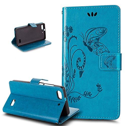 Kompatibel mit Huawei G Play mini Hülle,Huawei Honor 4C Hülle,Prägung Groß Schmetterling Blumen PU Lederhülle Flip Hülle Ständer Wallet Tasche Schutzhülle für für Huawei G Play mini/Honor 4C,Blau