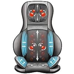 Comfier Shiatsu luftkompression massage sittdyna med knådning, roller och vibrationer massage, 3D rygg massageequipment med värme, för justerbar nacke, axel, rygg och lår massage