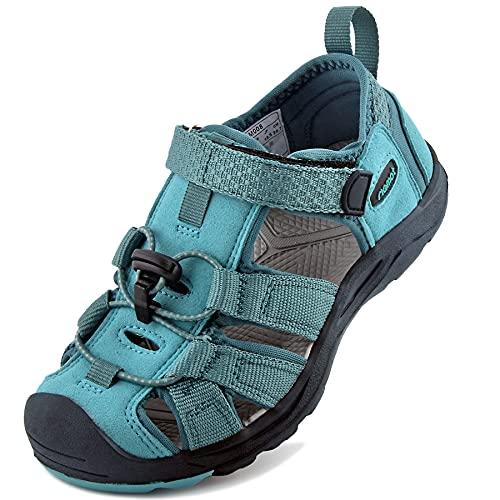riemot Sandalias Deportivas para Niños, Sandalia para Trekking Verano Zapatillas de Deporte al Aire Libre Zapatos Playa Antideslizantes, para Caminar, Viajar, Senderismo, Correr, Verde 31 EU