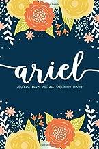 Ariel: Journal   Diary   Agenda   Tagebuch   Diario: 150 pages paginas seiten pagine: Modern Florals First Name Notebook in Orange, Mint & Yellow on Navy ACH328b