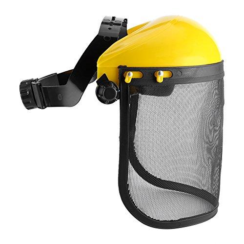 Casco de protección, visera de seguridad de red con banda de cabeza ajustable para sierras de motosierras de jardinería, desbrozadora, visera forestal, trabajo Cap protege la cara