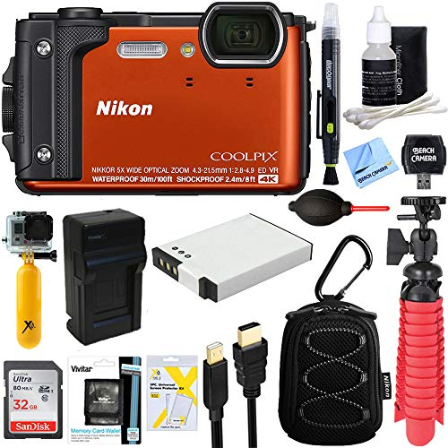 Nikon COOLPIX W300 16MP 4k Ultra HD Waterproof Digital Camera (Orange) - (Renewed) + 32GB Memory & Deluxe Accessory Bundle