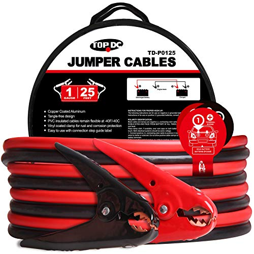 TOPDC Jumper Cables 1-Gauge 25-FT -40℉ to 167℉ 700Amp Heavy Duty...