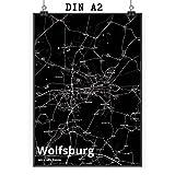 Mr. & Mrs. Panda Poster DIN A2 Stadt Wolfsburg Stadt Black