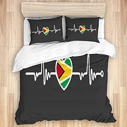 CVSANALA Comodo Set Copripiumino per Camera da Letto, Bandiera della Guyana Heartbeat Line Heart 3 Pezzi Set di Biancheria da Letto Morbida di Lusso (Senza Piumino)