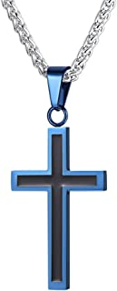 U7 Men Boys Simple Cross Necklace with Chain 22