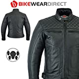 Men's Texpeed Armoured Black Leather Diamond Stitched Motorcycle/Motorbike Jacket - All Sizes