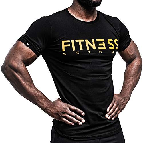 Fitness Method, Sport T-Shirt Herren, Slim-Fit Shirt bequem & hochwertig Männer, Rundhals & Tailliert, Training & Freizeit, Gym & Casual Workout Mann, 95{498a60e2d3484fac66662906ef74afc39b156b2b32963882a38969e60fe43998} Baumwolle, 5{498a60e2d3484fac66662906ef74afc39b156b2b32963882a38969e60fe43998} Elastan, (Schwarz- Gold XXL)