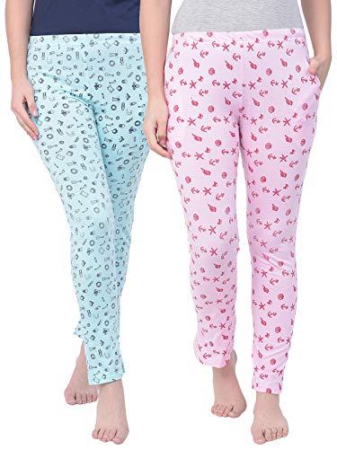 Clovia Women's Cotton Pack of 2 Print Me Pretty Pyjama Pants (COMBLB704_Multi-Coloured_L)