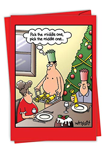 Middle One - Funny Adult Merry Christmas Note Card with Envelope (4.63 x 6.75 Inch) - Dirty Men Jokes, Cartoon Xmas Card for Wife, Women - Adult Humor Happy Holidays Stationery 1693