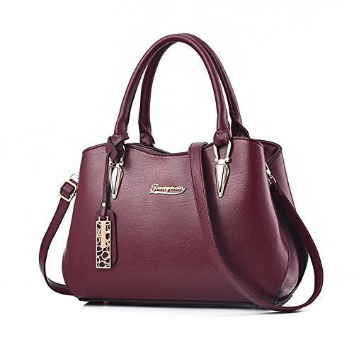BestoU Damen Handtasche Schwarz groß Leder Damen Schultertasche Frauen Umhängetasche (Rot)