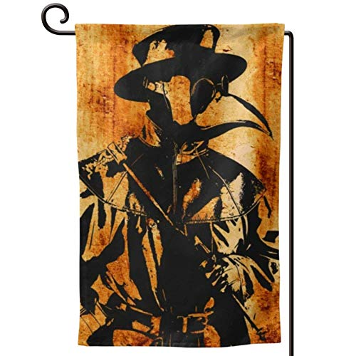 JUCHen Distressed Plague Doctor Artwork Steampunk Style - Double Sided Banners for Outdoor Indoor Home Garden Yard Decorations