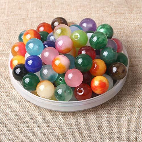 100 unidades de piedras semipreciosas, redondas, naturales, piedras preciosas, piedras curativas, piedras semipreciosas, perlas para manualidades, 8 mm
