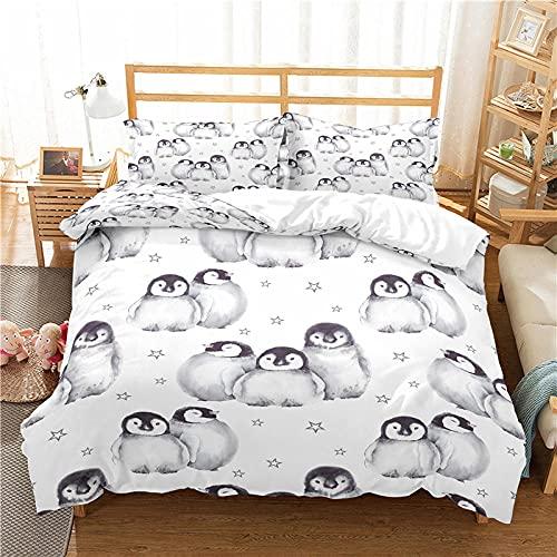 LucaSng Blanco Funda Nordica 3D Impresión Ropa De Cama De - King Single 150x220 CM - pingüino Animales Estrellas - Funda de Edredón 3 Ropa de Cama Suave Familia Niño Niña Moderno Estilo Colcha Cama