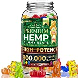 Hemp Gummies Premium XXL 800,000 High Potency - Fruity Gummy Bear with Hemp Oil | Natural Hemp Candy Supplements for Pain, Anxiety, Stress & Inflammation Relief | Promotes Sleep & Calm Mood